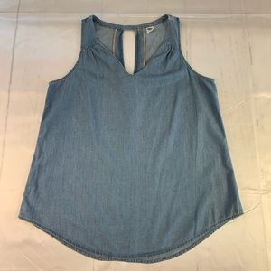 Old navy denim tank top medium v neck